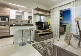 cozinha americana com sala de tv moderna