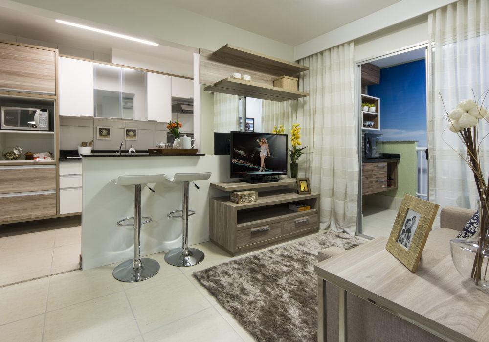Projete sua cozinha americana com sala s detalhe for Salas de television modernas