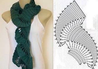 dicas de cachecol de crochê com gráfico