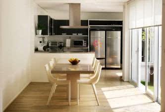 modelos de cozinha americana pequena com sala de jantar