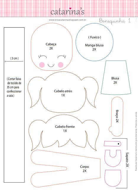 moldes de bonecas de feltro 2 - Modelos de Moldes de BONECAS de feltro e eva