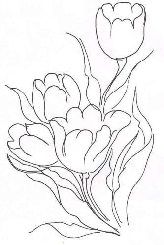 desenhos de tulipas para pintar
