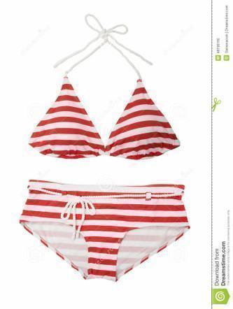 biquíni listradinho de vermelho e branco