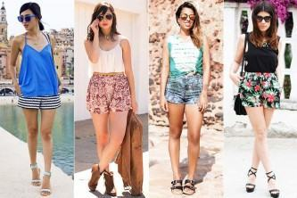 shorts estampado com tecidos leves