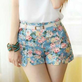 shorts estampados cintura alta