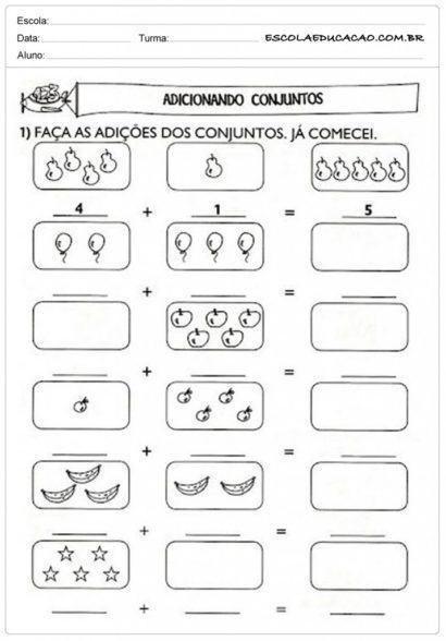 atividades de matemática 1 série adicionando conjuntos