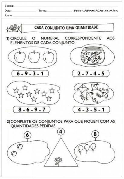 atividades de matemática 1 série cada conjunto uma quantidade