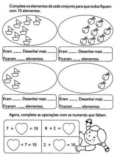 atividades de matemática 1 série complete os elementos