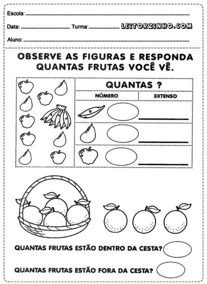 atividades de matemática 1 série contando as frutas