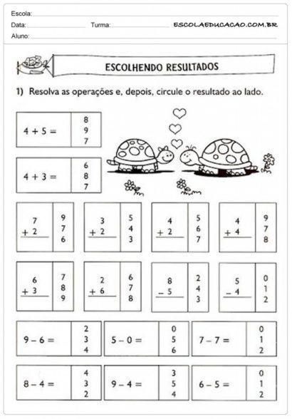 atividades de matemática 1 série escolhendo resultados