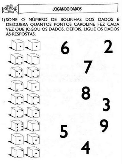 atividades de matemática 1 série jogando dados