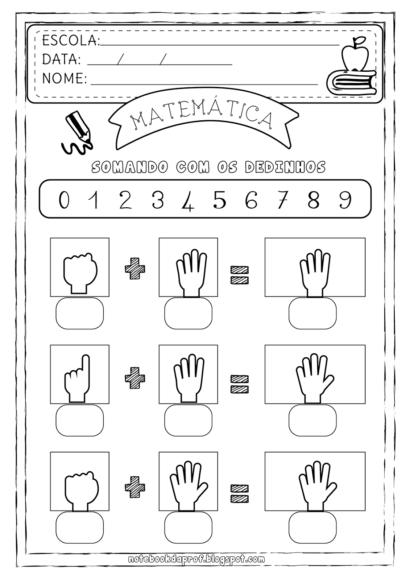 atividades de matemática 1 série somando com os dedinhos