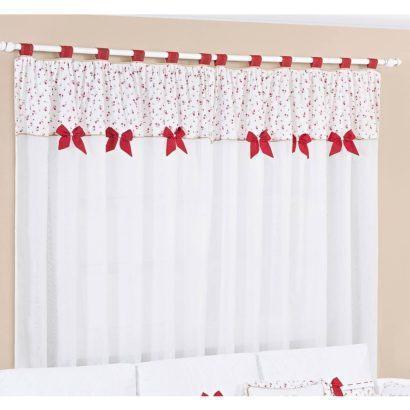 cortinas decorativas para quarto branca com lacinhos vermelhos