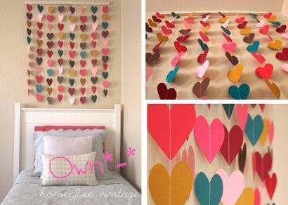 cortinas decorativas para quarto com corações coloridos