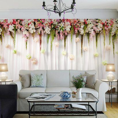 cortinas decorativas para quarto estampada com flores