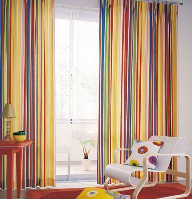 cortinas decorativas para quarto listradas coloridas