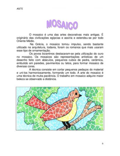 atividades de arte para o 5 ano Mosaico