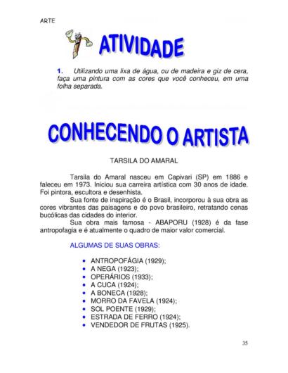 atividades de arte para o 5 ano Tarsila do Amaral