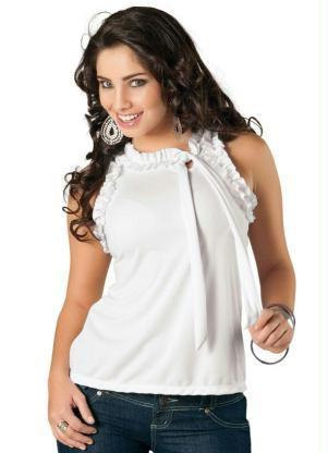 blusas femininas sem manga com babados - Blusas femininas sem MANGA moda verão