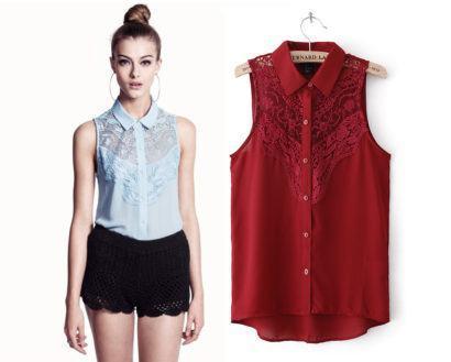 blusas femininas sem manga com renda 410x329 - Blusas femininas sem MANGA moda verão