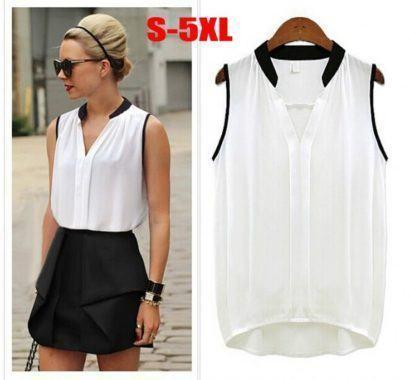 blusas femininas sem manga de chiffon branca com preta 1 410x380 - Blusas femininas sem MANGA moda verão