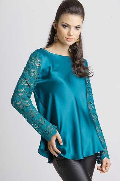 blusinhas femininas de seda azul de mangas longas - Blusinhas femininas de seda looks pra usar com saia e calça