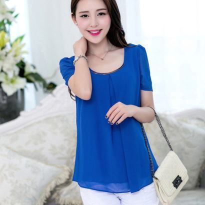 blusinhas femininas de seda azul escuro 410x410 - Blusinhas femininas de seda looks pra usar com saia e calça