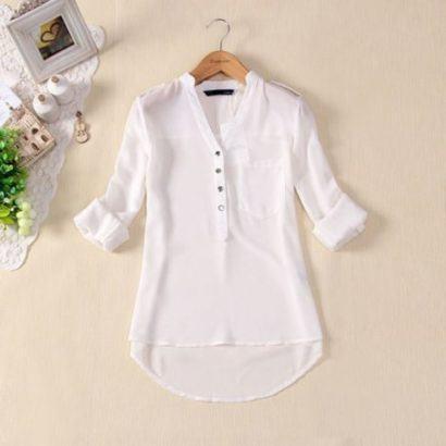 blusinhas femininas de seda branca 410x410 - Blusinhas femininas de seda looks pra usar com saia e calça