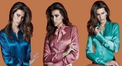 blusinhas femininas de seda camisas dudalina 410x224 - Blusinhas femininas de seda looks pra usar com saia e calça