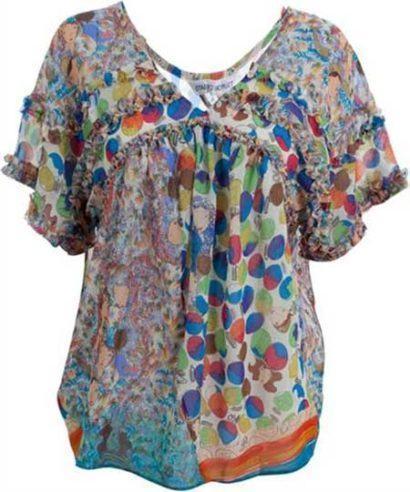 blusinhas femininas de seda larguinha 410x492 - Blusinhas femininas de seda looks pra usar com saia e calça
