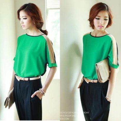 blusinhas femininas de seda verde 410x410 - Blusinhas femininas de seda looks pra usar com saia e calça
