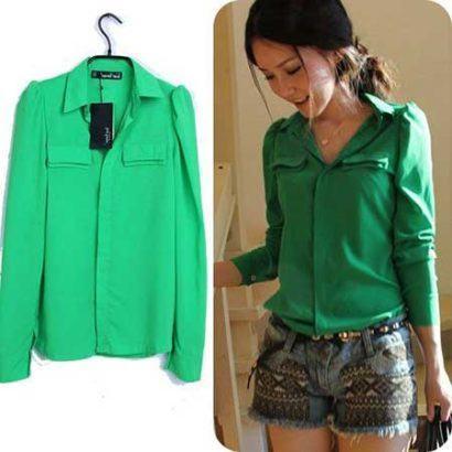 blusinhas femininas de seda verde com mangas longas 410x410 - Blusinhas femininas de seda looks pra usar com saia e calça