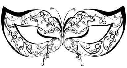 m%C3%A1scaras de carnaval para imprimir de borboleta 410x221 - Máscaras de carnaval para imprimir e colorir para crianças