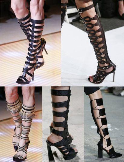 modelos de sandalias com tiras altas gladiadoras 410x535 - Sandálias de tiras altas Gladiadoras encantadoras