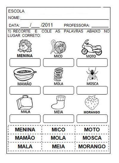 atividades m - Atividades com Ma Me Mi Mo Mu sílabas para alfabetização
