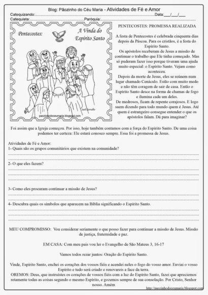 catequese pentecostes 410x581 - ATIVIDADES DE CATEQUESE SOBRE PENTECOSTES para aprender a bíblia