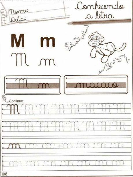 grifar letra m 460x611 - Atividades com Ma Me Mi Mo Mu sílabas para alfabetização