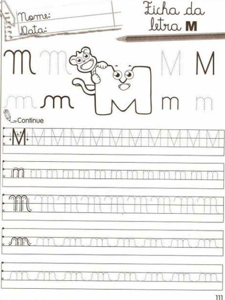 m maiusculo e minusculo 460x612 - Atividades com Ma Me Mi Mo Mu sílabas para alfabetização