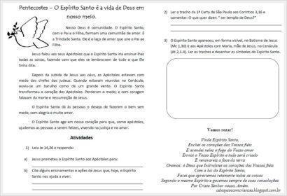 pentecostes atividades catequese 410x280 - ATIVIDADES DE CATEQUESE SOBRE PENTECOSTES para aprender a bíblia