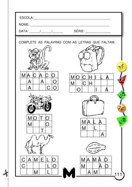 preencha 460x650 - Atividades com Ma Me Mi Mo Mu sílabas para alfabetização