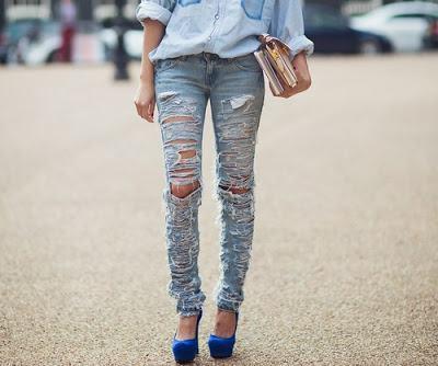 calcas jeans rasgadas customizadas - CALÇAS JEANS CUSTOMIZADAS rasgadas, com renda, taxinhas e mais