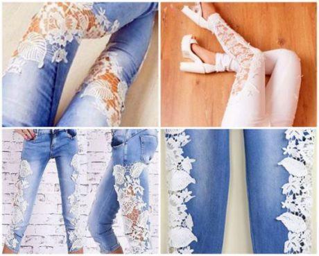 lindas calcas customizadas renda 460x369 - CALÇAS JEANS CUSTOMIZADAS rasgadas, com renda, taxinhas e mais