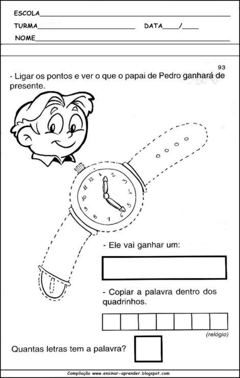 atividades escolares para dia dos pais em desenhos bem