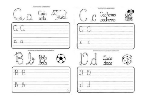 atividades de caligrafia para imprimir a b c d 470x332 - Atividades de CALIGRAFIA para Imprimir e melhorar a escrita