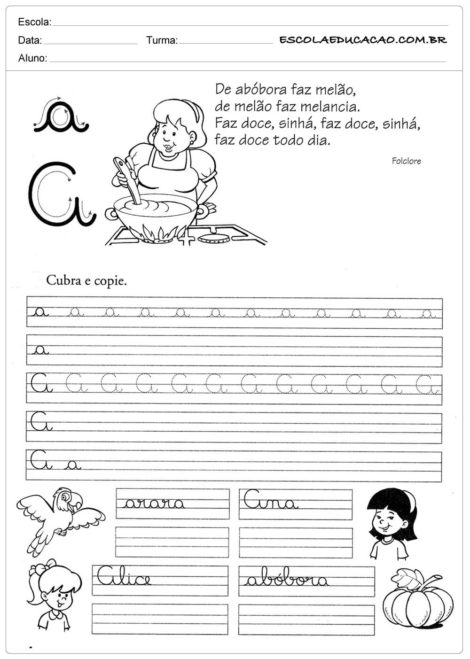 atividades de caligrafia para imprimir letra a 470x659 - Atividades de CALIGRAFIA para Imprimir e melhorar a escrita