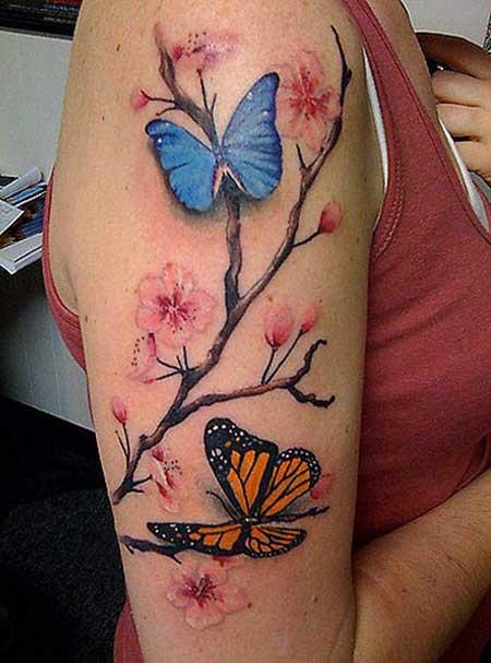 borboleta tatuada no braco feminino - Tatuagem Feminina no Braço, no Pulso, Ideias em Desenhos
