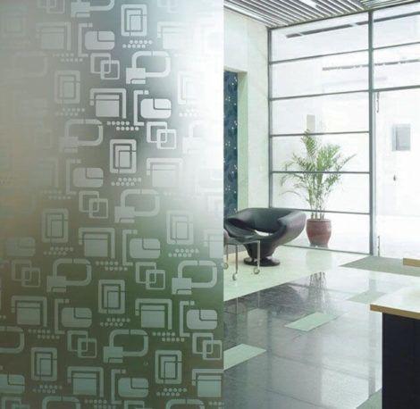 divisorias com vidro jateado 470x458 - Tipos de Vidro Jateado para Portas e Janelas