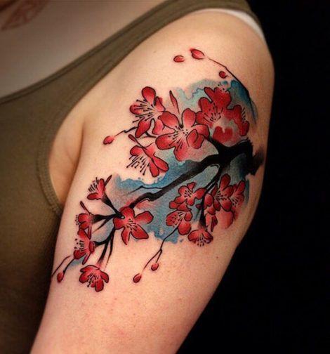 imagem 25 2 470x504 - Tatuagens de Flores com Galhos e partes do Corpo