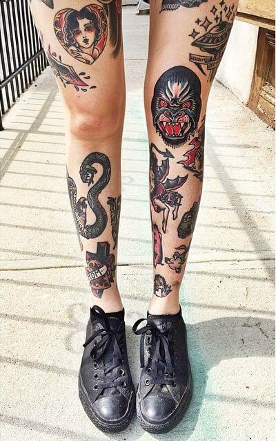 tattoo old school leg - Tatuagem Old School Desenhos, Fotos e Dicas