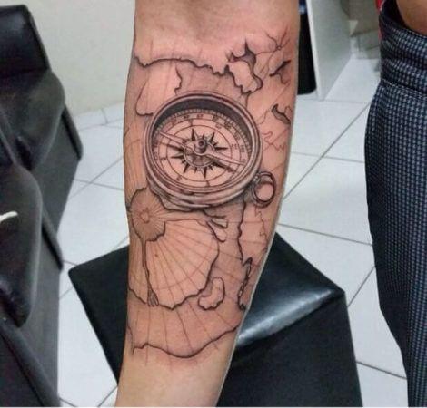 Fotos de tatuagem b ssola ou rosa dos ventos diversas for Tatoo bussola
